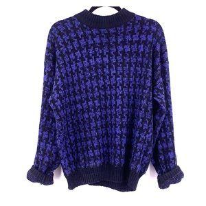 Vintage purple black knit sweater size large